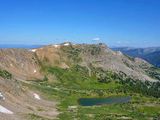 View of Caribou Lake (11,167') from Arapaho Pass